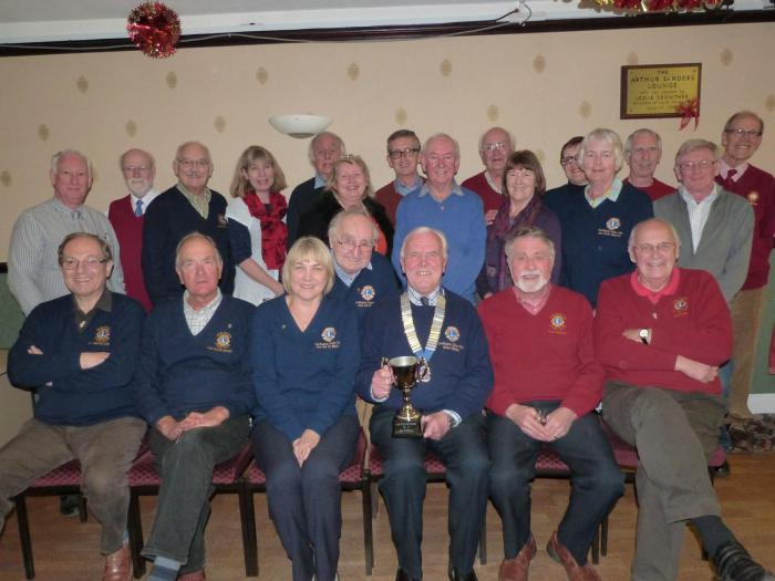 Darlington Lions Club members with Lion president Robert Hillary holding the Club of the Year trophy